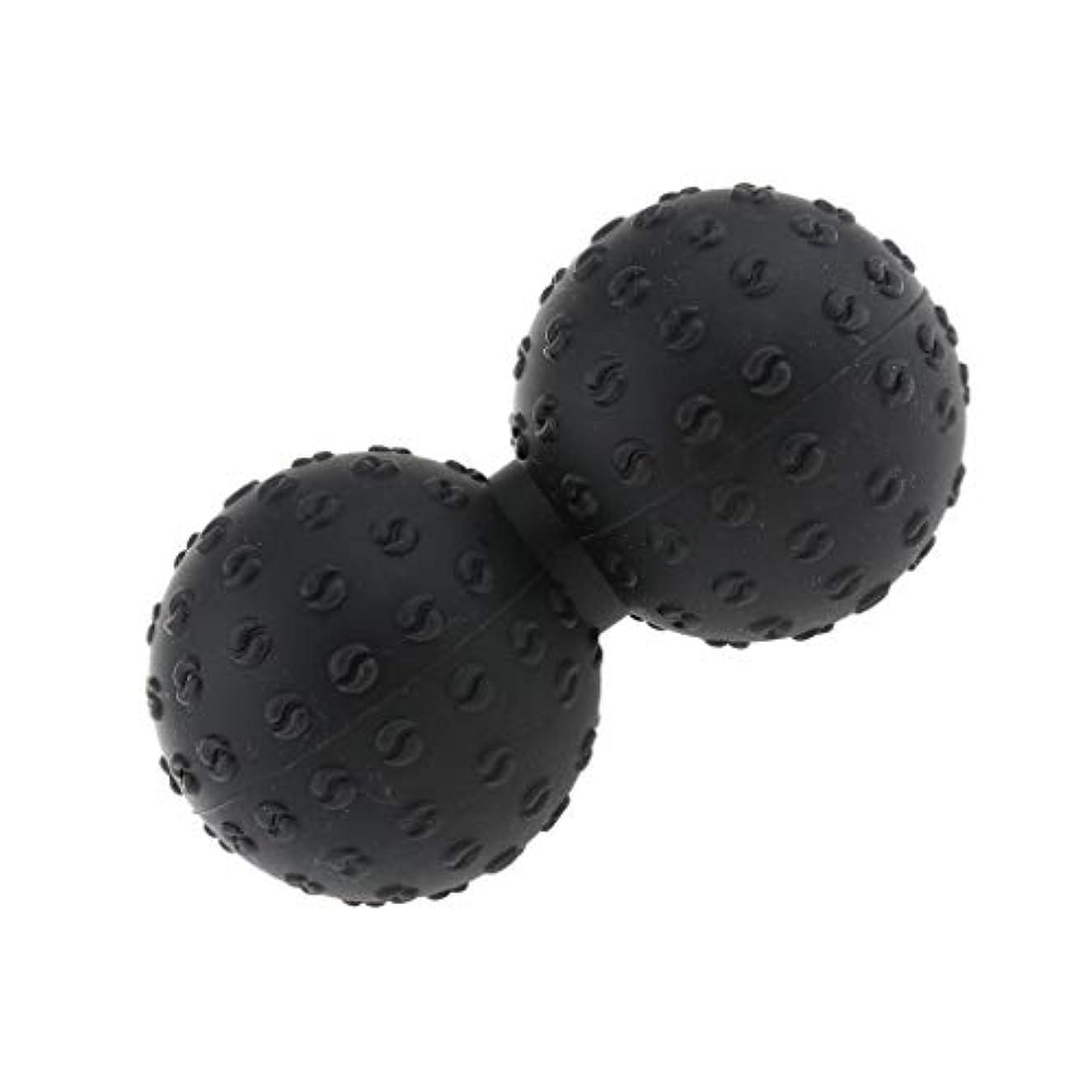 非常に本能びんCUTICATE マッサージボール 指圧ボール シリコン ピーナッツ トリガーポイント 肩、足、腕など 解消 全6色 - ブラック, 説明のとおり