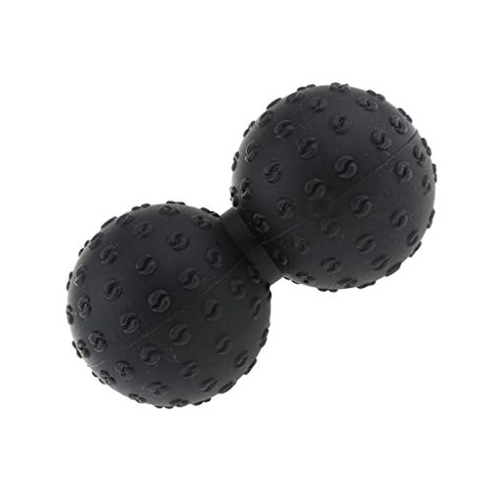 摂動限定著者マッサージボール 指圧ボール シリコン ピーナッツ トリガーポイント 肩、足、腕など 解消 全6色 - ブラック, 説明のとおり