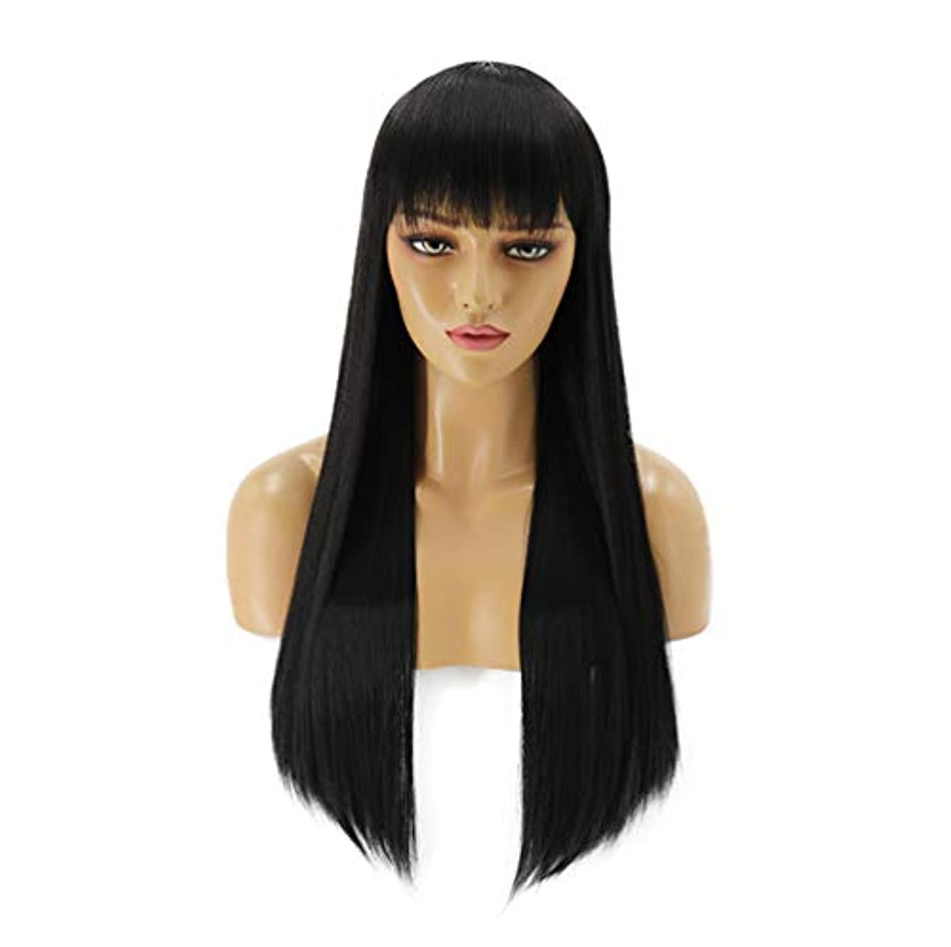 訪問ブロンズ気を散らす女性150%密度髪合成かつらロングストレート耐熱髪事前摘み取らかつら黒70センチ