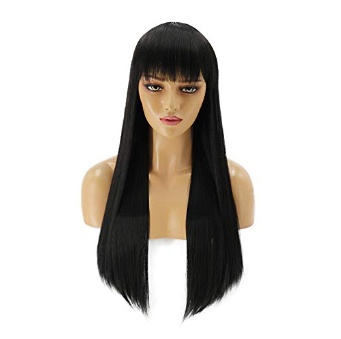 影響するコンチネンタル踏みつけ女性150%密度髪合成かつらロングストレート耐熱髪事前摘み取らかつら黒70センチ
