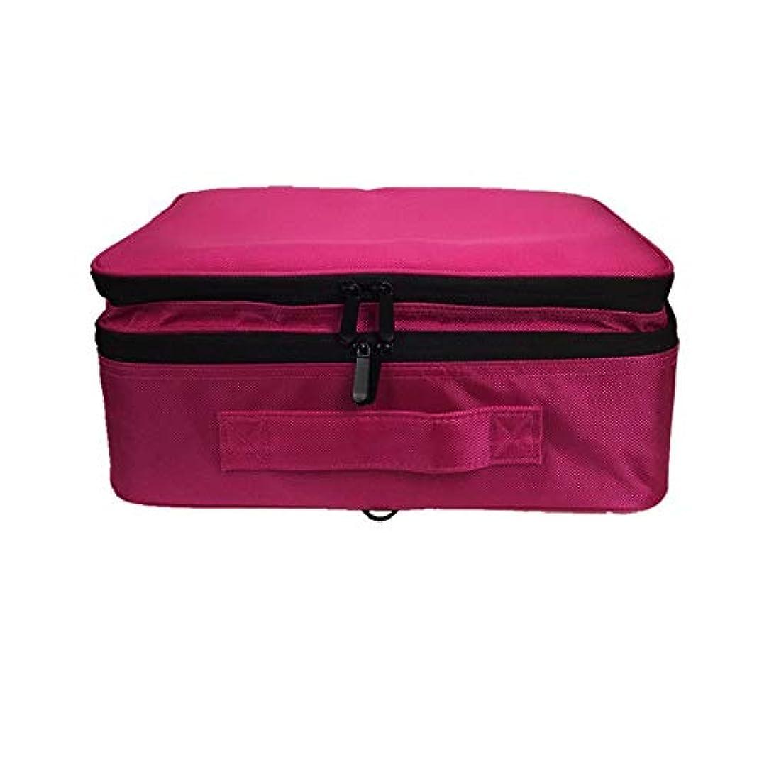 プロット地中海液体特大スペース収納ビューティーボックス 女の子の女性旅行のための新しく、実用的な携帯用化粧箱およびロックおよび皿が付いている毎日の貯蔵 化粧品化粧台 (色 : 赤)