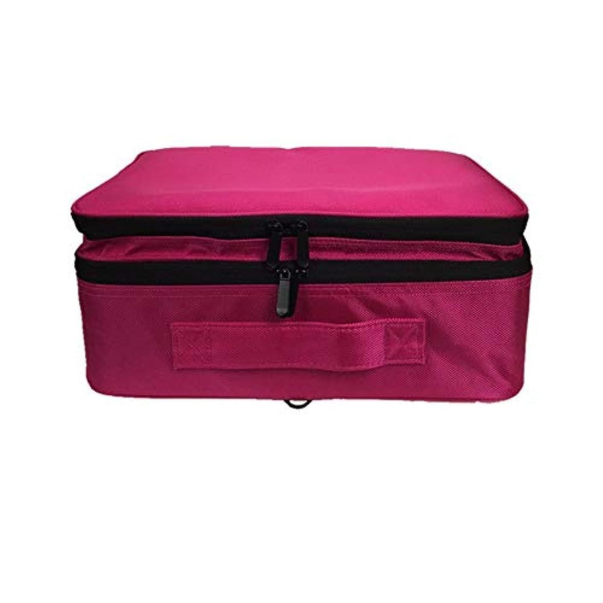 副周術期つま先化粧オーガナイザーバッグ 調整可能な仕切り付き防水メイクアップバッグ旅行化粧ケースブラシホルダー 化粧品ケース (色 : 赤)