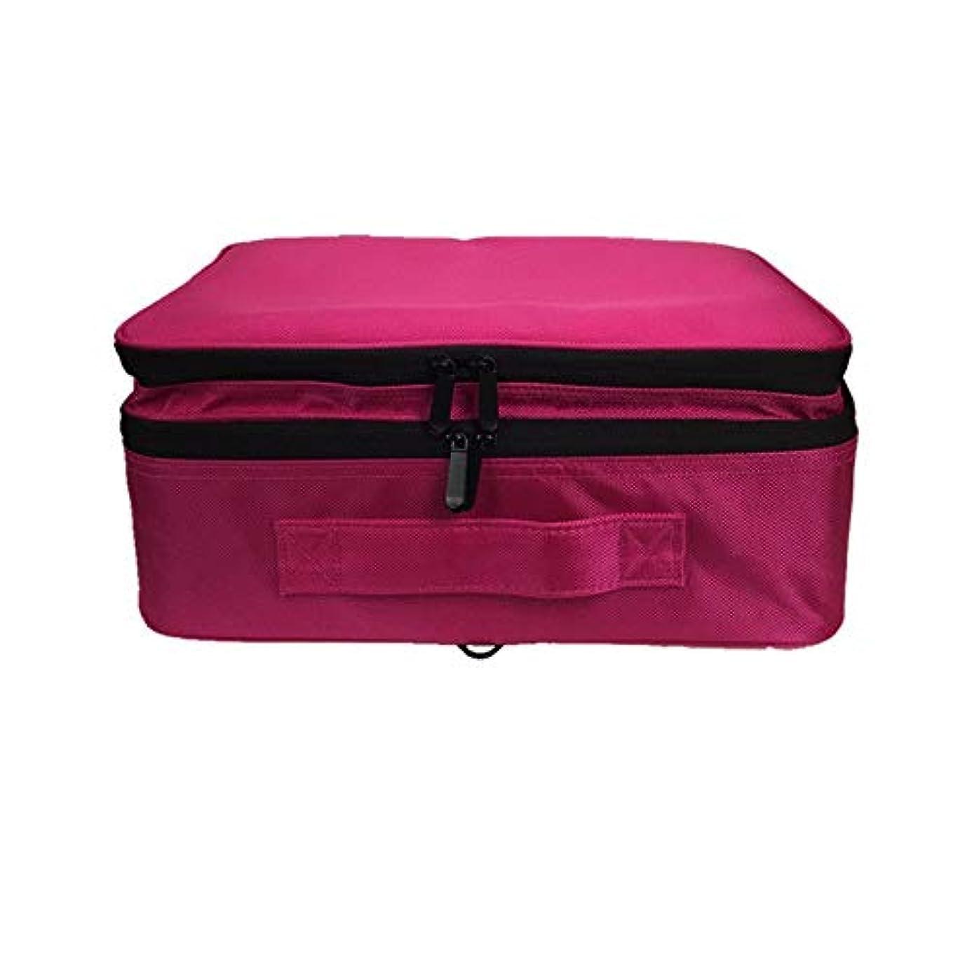 化粧オーガナイザーバッグ 調整可能な仕切り付き防水メイクアップバッグ旅行化粧ケースブラシホルダー 化粧品ケース (色 : 赤)