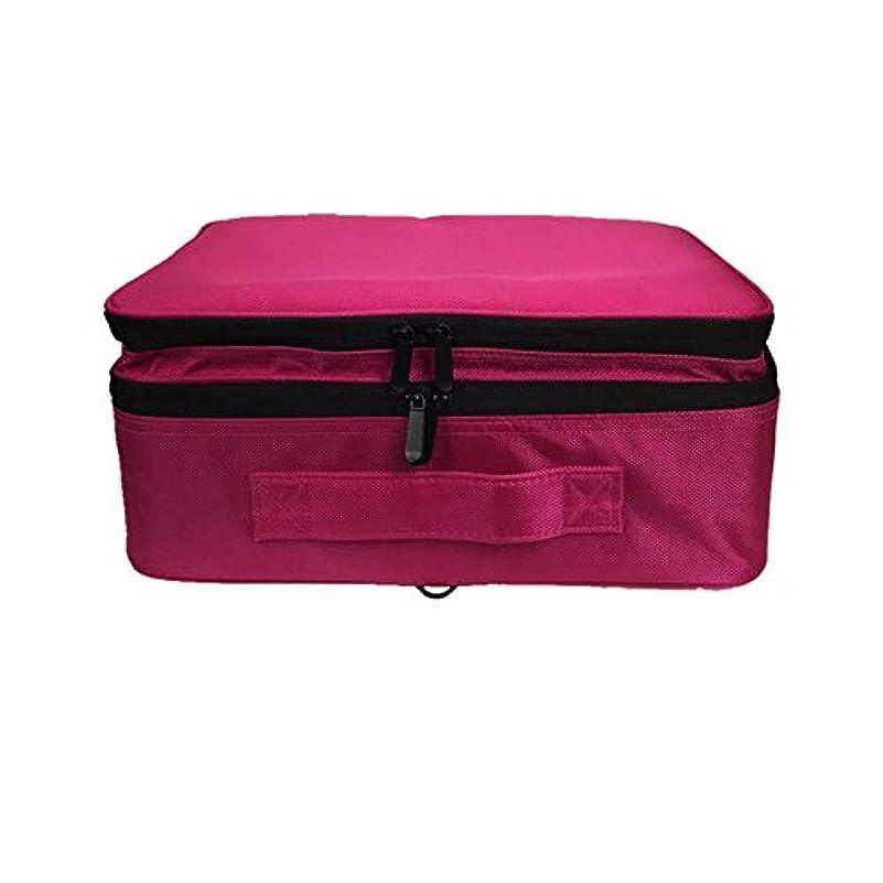 模索恐竜中央化粧オーガナイザーバッグ 調整可能な仕切り付き防水メイクアップバッグ旅行化粧ケースブラシホルダー 化粧品ケース (色 : 赤)