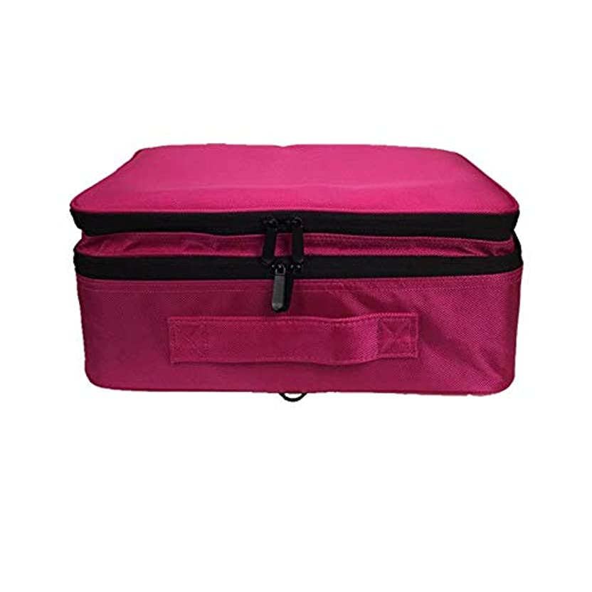 平らな理想的アサー化粧オーガナイザーバッグ 調整可能な仕切り付き防水メイクアップバッグ旅行化粧ケースブラシホルダー 化粧品ケース (色 : 赤)