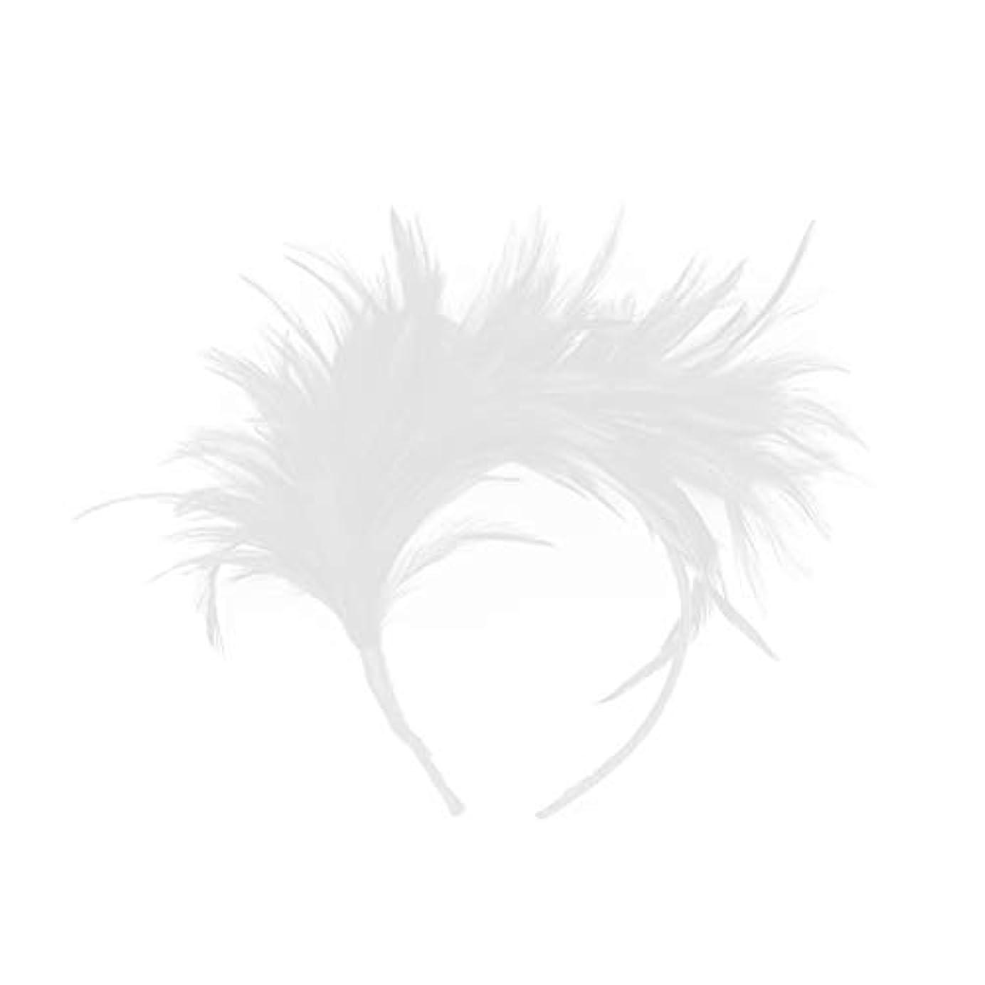 アクセスできない破滅的な毛細血管Lurrose カチューシャ 羽 ヘアアクセサリー 結婚式 写真撮影 演奏会 コンサートウェディング コスプレ パーティー プレゼント 髪飾り (白)