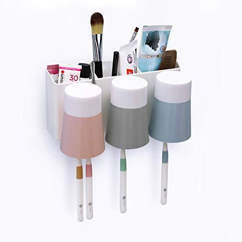 MECO 歯ブラシスタンド 歯ブラシホルダー 壁掛け式 収納ケース 清潔 健康 防塵 衛生 家族用 多機能収納ケース 置き型 収納ホルダー