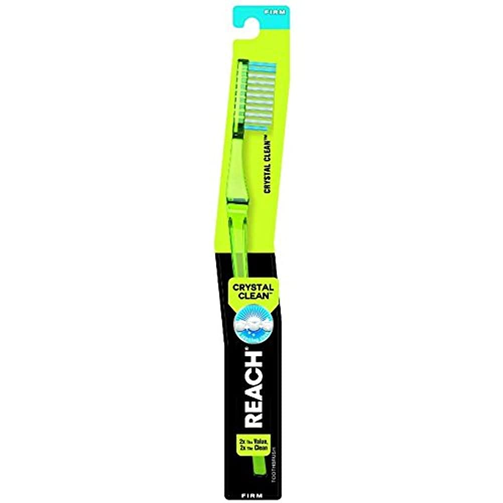 バッテリー泣く接続されたReach クリスタルクリーン事務所抗菌キャップ、1 EAで大人歯ブラシ - ブルー(4パック) 4パック