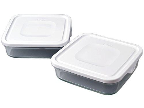 iwaki イワキ 耐熱ガラス パック&レンジ BOX 大 2個セット ホワイト 1.2L 重ねパック N3248-W 2個セット