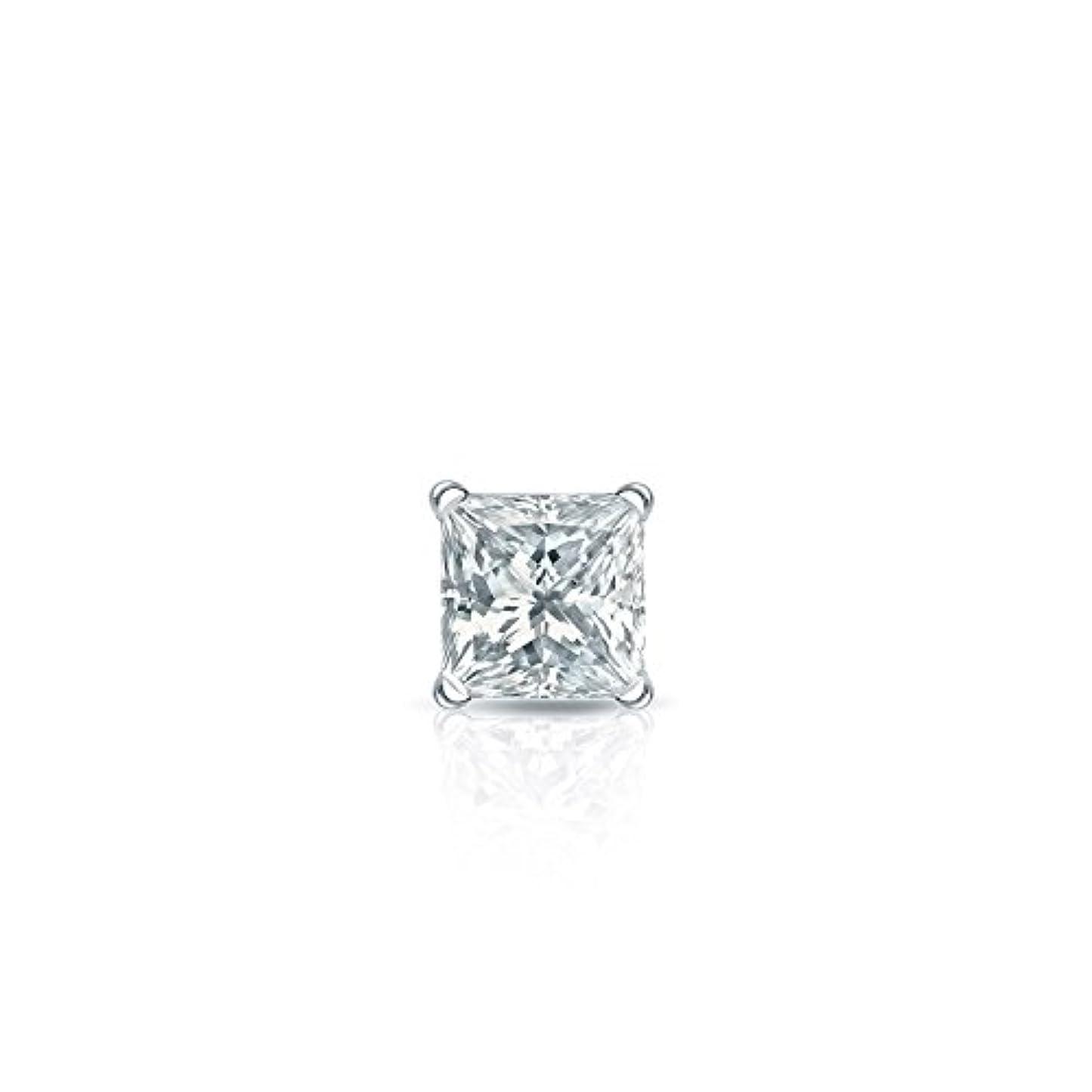 会話くぞっとするような14 Kゴールド4プロングMartiniプリンセスダイヤモンドシングルスタッドイヤリング( 1 / 8 – 1 CT、ホワイト、si1-si2 ) securelockback