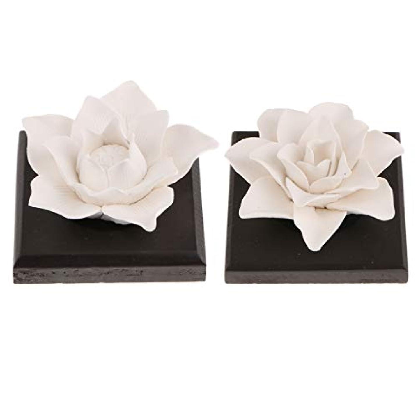 煙範囲半円B Baosity 2個 セラミック 花 エッセンシャルオイル 香水 香り ディフューザー 空気清浄