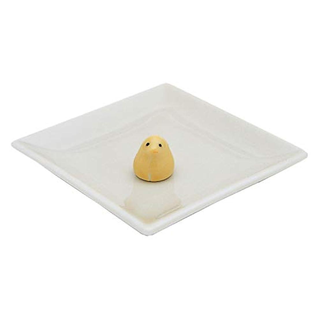 クリークセージ接触陶器香皿&ヒヨコ香立(アイボリー)