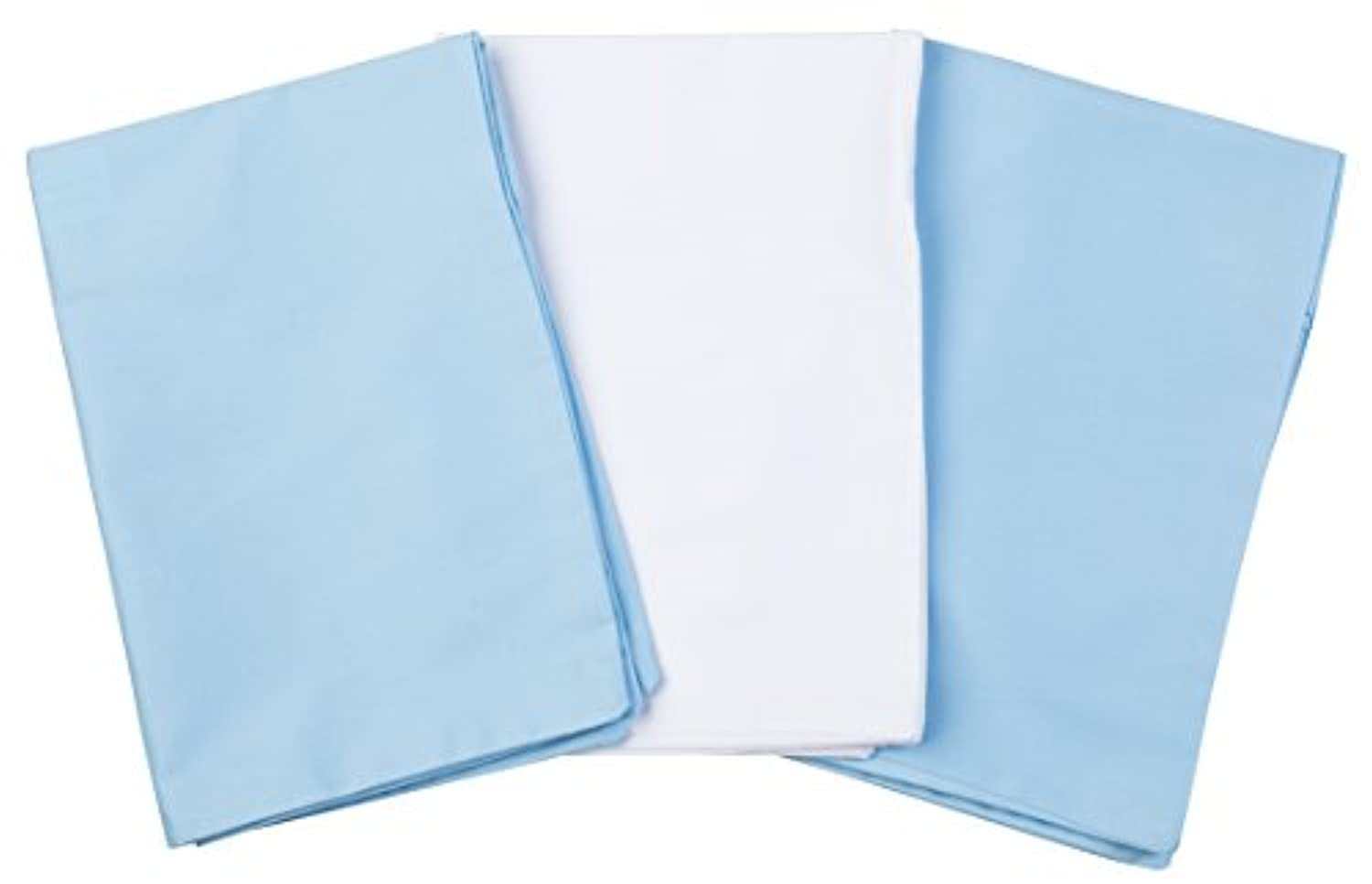 3 Toddler Pillowcases - 2 Blue and 1 White - Envelope Style - 13x18 - 100% Cotton With Soft Sateen Weave - Machine Washable by Zadisonjaxx