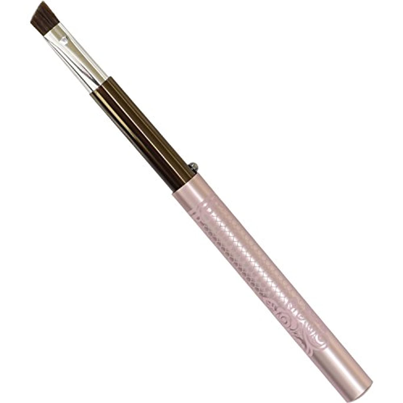 RO-4 六角館さくら堂 ロジェ アイブローブラシ ブラウン×ピンクのレース柄がかわいい! 携帯用メイクブラシ