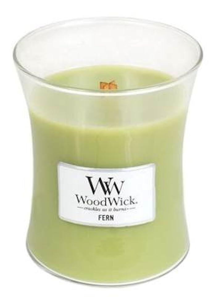 歯科のくさび発送Fern WoodWick 10 oz Medium砂時計Jar Candle Burns 100時間
