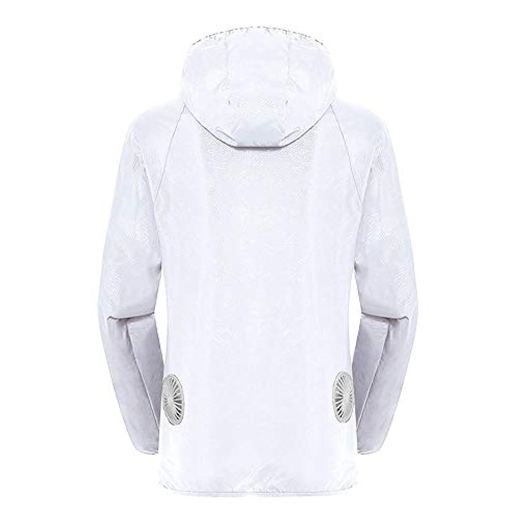 プログラム蘇生するプログラム夏のスマート3ギアエアコンジャケット日焼け防止服釣りスーツ水しぶき防止服をクールダウン(宝物なしで充電),White,L