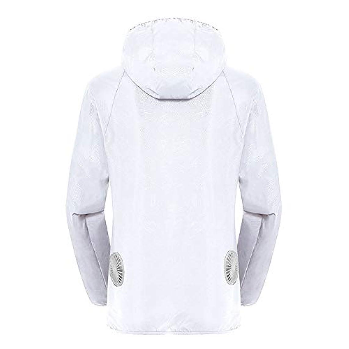 エネルギー起業家シンボル夏のスマート3ギアエアコンジャケット日焼け防止服釣りスーツ水しぶき防止服をクールダウン(宝物なしで充電),White,L