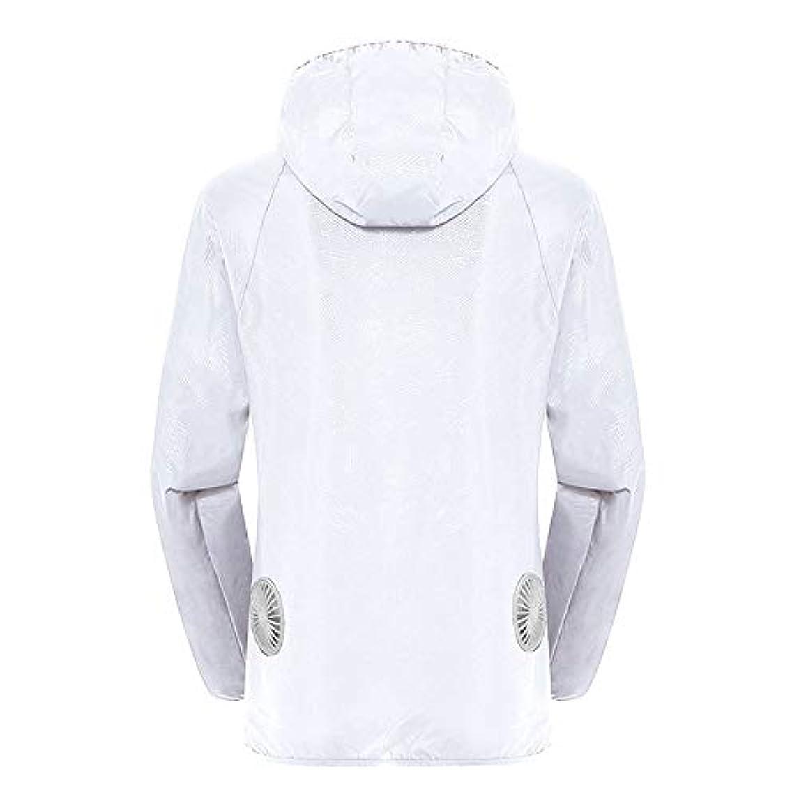 ドキュメンタリー戦争透明に夏のスマート3速エアコンジャケット日焼け止め衣類釣りスーツ水のしぶきの衣服の飛散を防ぐ(充電宝物を含む),White,XXL