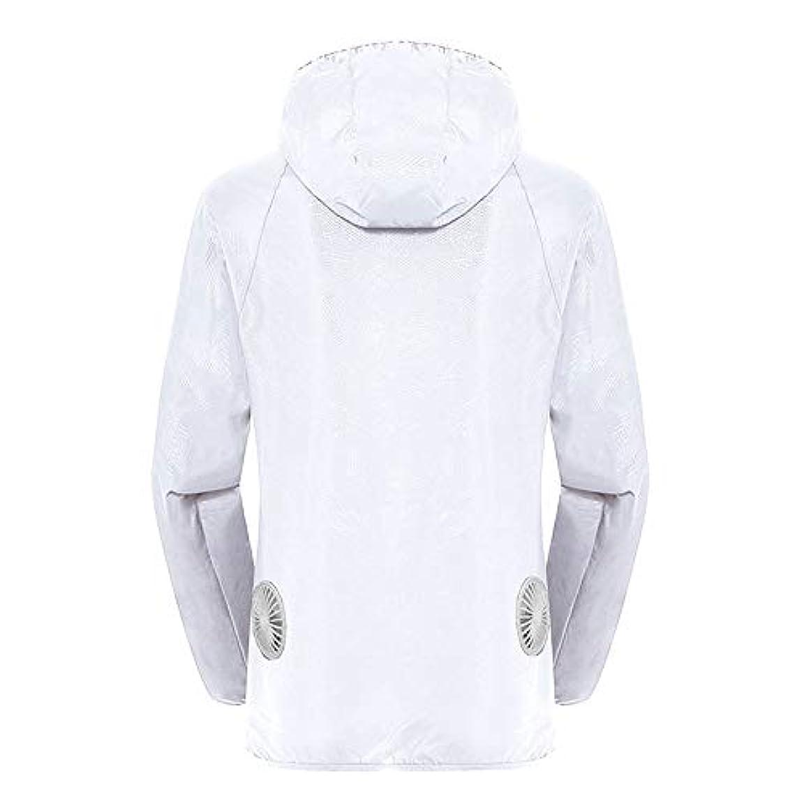 司教アルバニーに同意する夏のスマート3ギアエアコンジャケット日焼け防止服釣りスーツ水しぶき防止服をクールダウン(宝物なしで充電),White,L