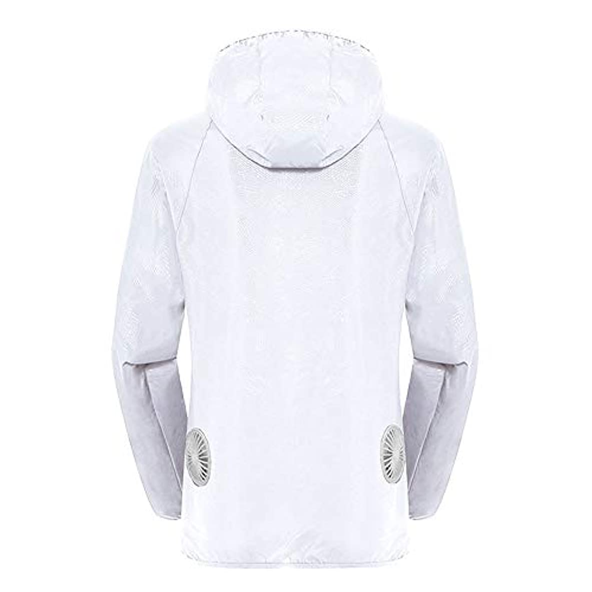 剪断ポンペイ親密な夏のスマート3速エアコンジャケット日焼け止め衣類釣りスーツ水のしぶきの衣服の飛散を防ぐ(充電宝物を含む),White,XXL