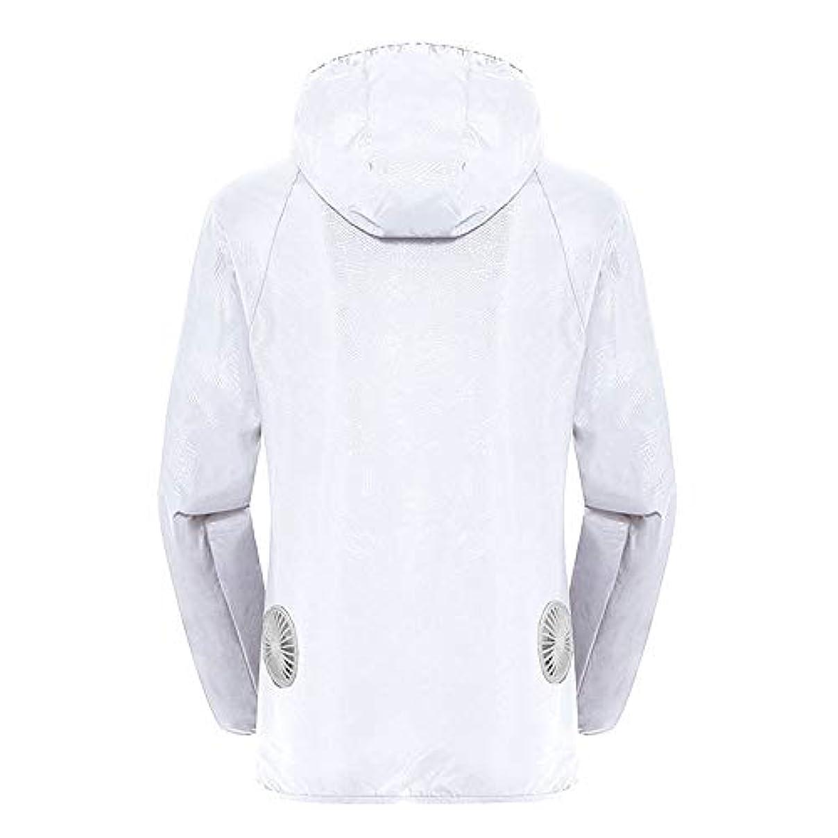 フライカイト共同選択満足させる夏のスマート3速エアコンジャケット日焼け止め衣類釣りスーツ水のしぶきの衣服の飛散を防ぐ(充電宝物を含む),White,XXL