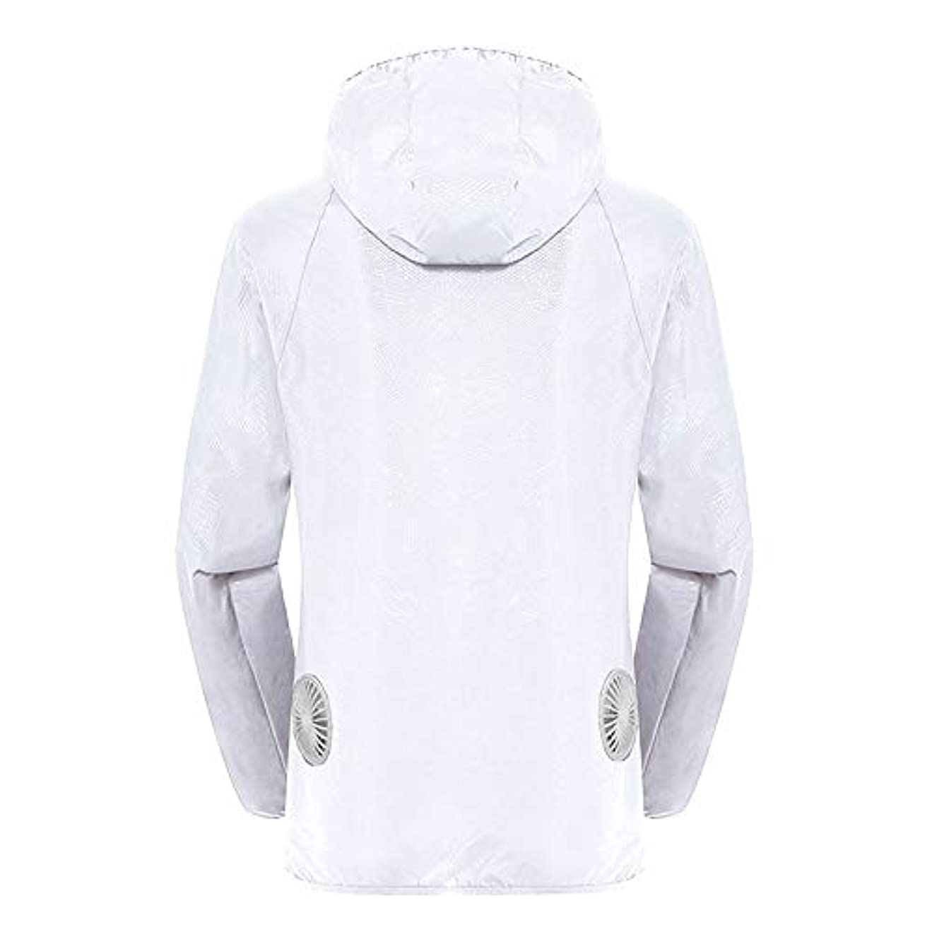 気体の取り替えるスライム夏のスマート3ギアエアコンジャケット日焼け防止服釣りスーツ水しぶき防止服をクールダウン(宝物なしで充電),White,L