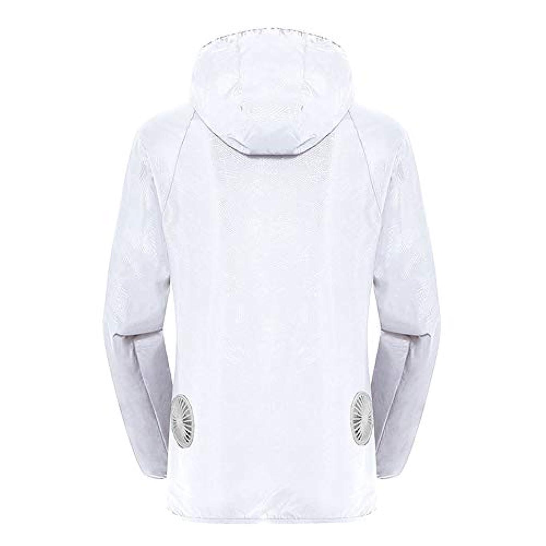 霊クローンボイド夏のスマート3速エアコンジャケット日焼け止め衣類釣りスーツ水のしぶきの衣服の飛散を防ぐ(充電宝物を含む),White,XXL