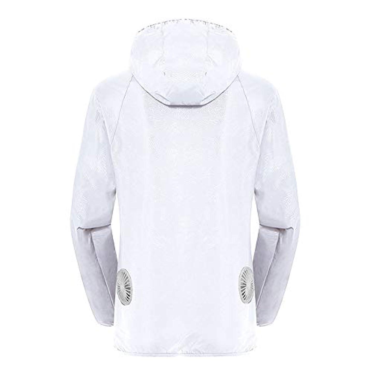 三ケーキ不振夏のスマート3速エアコンジャケット日焼け止め衣類釣りスーツ水のしぶきの衣服の飛散を防ぐ(充電宝物を含む),White,XXL