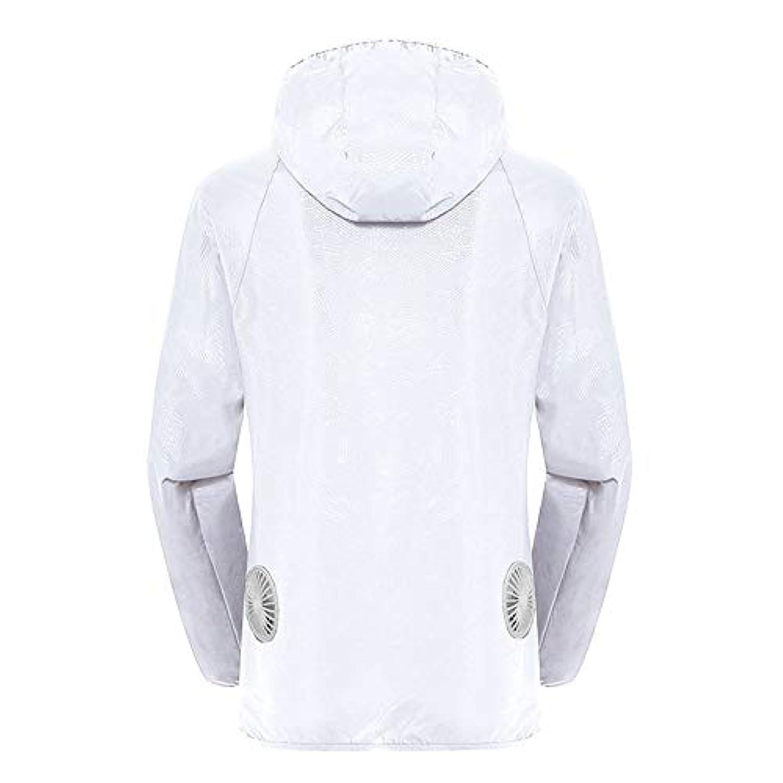 航空会社ヨーグルト脱獄夏のスマート3速エアコンジャケット日焼け止め衣類釣りスーツ水のしぶきの衣服の飛散を防ぐ(充電宝物を含む),White,XXL