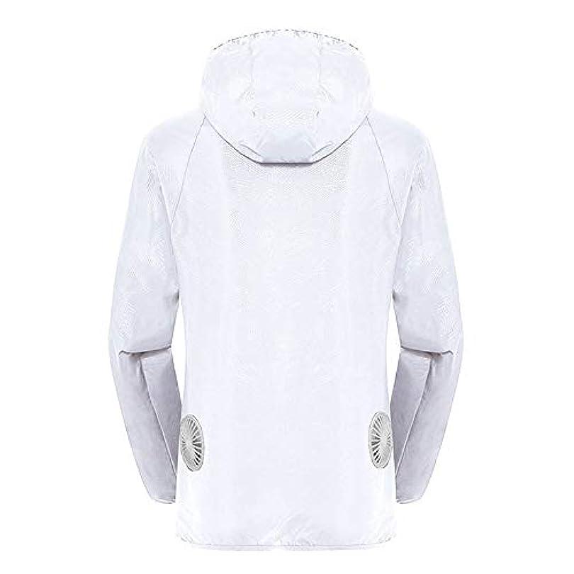 とても多くのエクスタシーノベルティ夏のスマート3速エアコンジャケット日焼け止め衣類釣りスーツ水のしぶきの衣服の飛散を防ぐ(充電宝物を含む),White,XXL