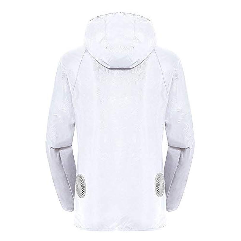 うぬぼれローマ人ドール夏のスマート3速エアコンジャケット日焼け止め衣類釣りスーツ水のしぶきの衣服の飛散を防ぐ(充電宝物を含む),White,XXL