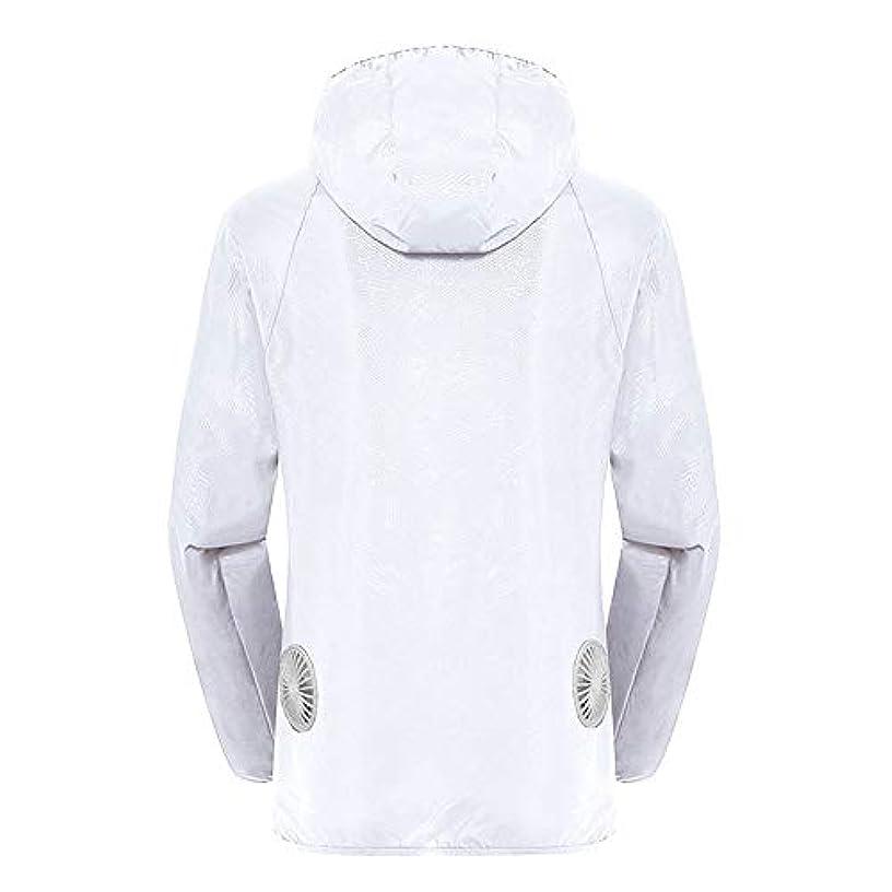 プランター冷える振幅夏のスマート3速エアコンジャケット日焼け止め衣類釣りスーツ水のしぶきの衣服の飛散を防ぐ(充電宝物を含む),White,XXL