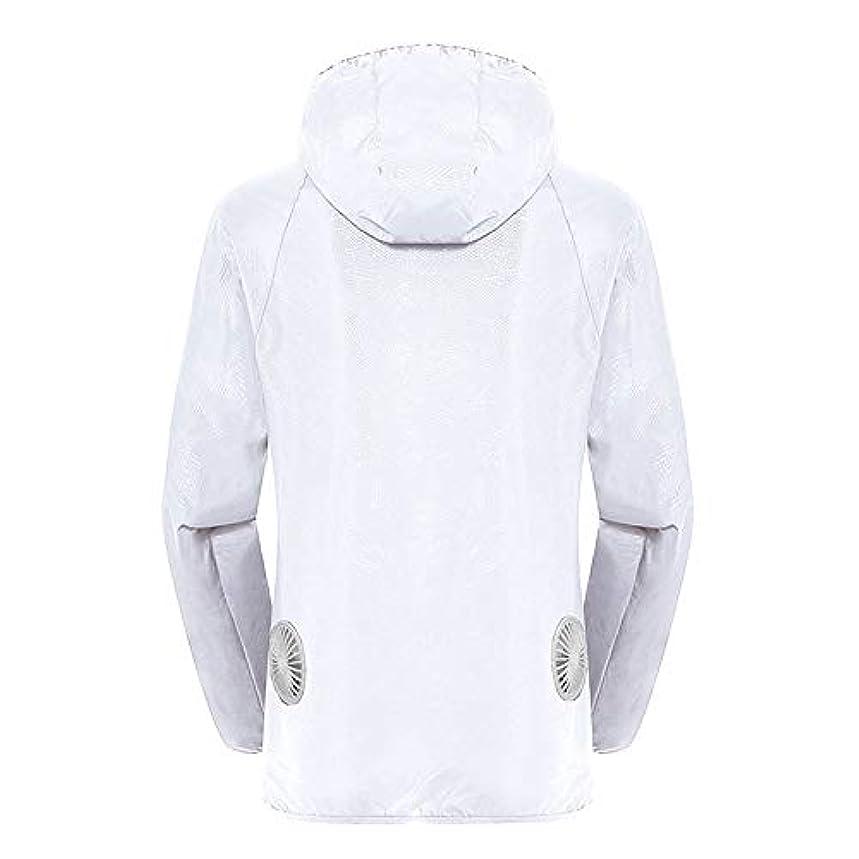 テンション秘密のペストリー夏のスマート3ギアエアコンジャケット日焼け防止服釣りスーツ水しぶき防止服をクールダウン(宝物なしで充電),White,L