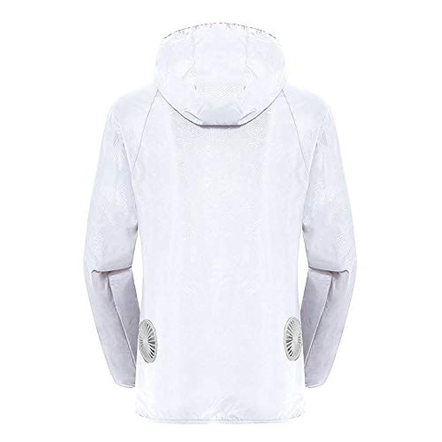 ビュッフェ葉巻地震夏のスマート3速エアコンジャケット日焼け止め衣類釣りスーツ水のしぶきの衣服の飛散を防ぐ(充電宝物を含む),White,XXL