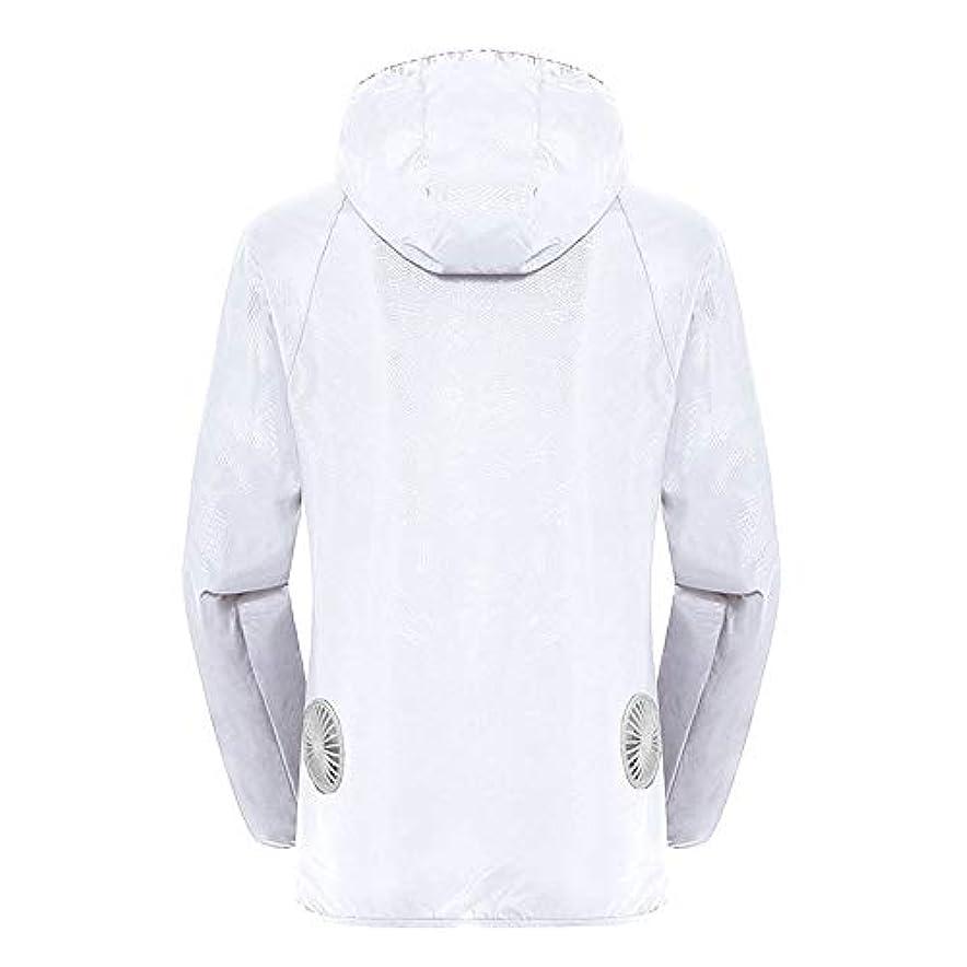 冷凍庫意図的フィット夏のスマート3速エアコンジャケット日焼け止め衣類釣りスーツ水のしぶきの衣服の飛散を防ぐ(充電宝物を含む),White,XXL
