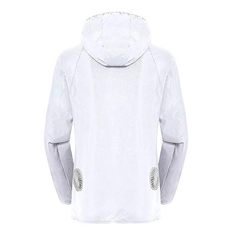 電気技師中間乗り出す夏のスマート3速エアコンジャケット日焼け止め衣類釣りスーツ水のしぶきの衣服の飛散を防ぐ(充電宝物を含む),White,XXL