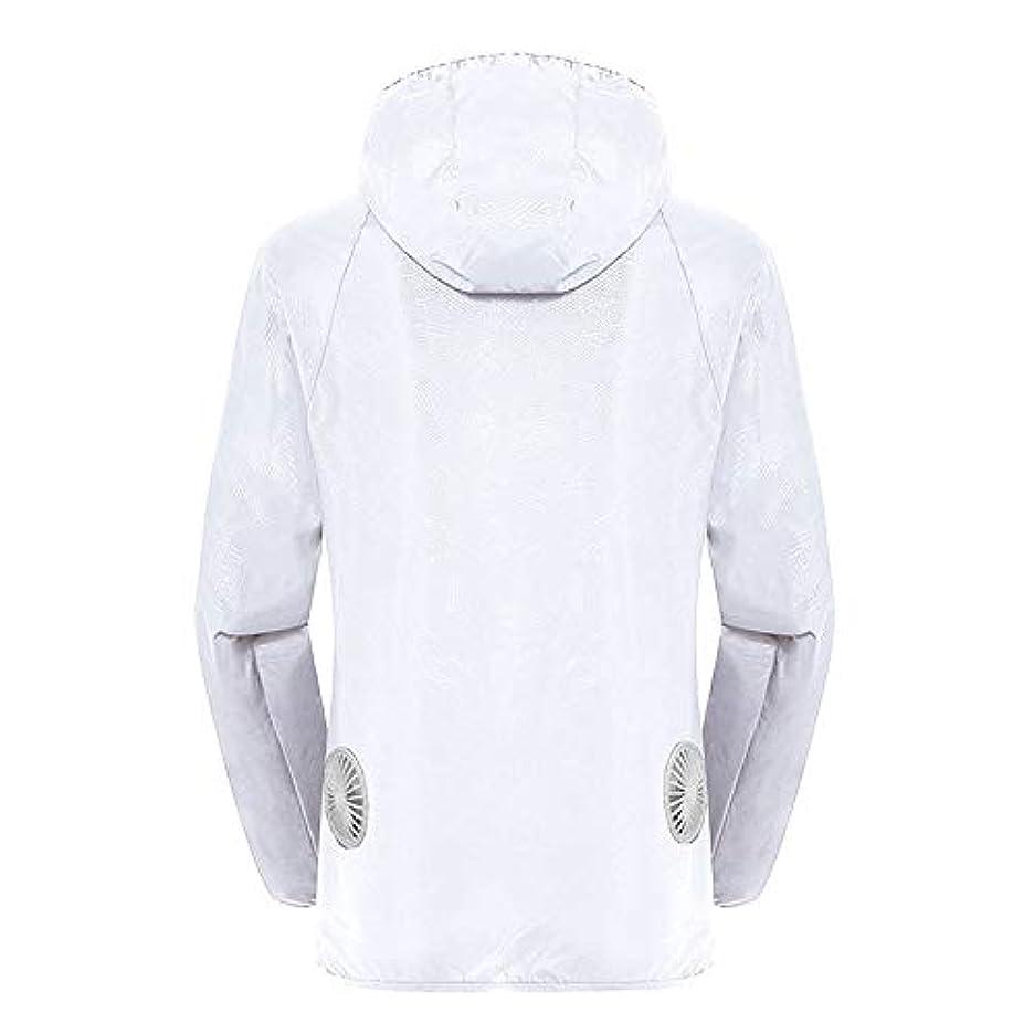 不足膿瘍母夏のスマート3速エアコンジャケット日焼け止め衣類釣りスーツ水のしぶきの衣服の飛散を防ぐ(充電宝物を含む),White,XXL