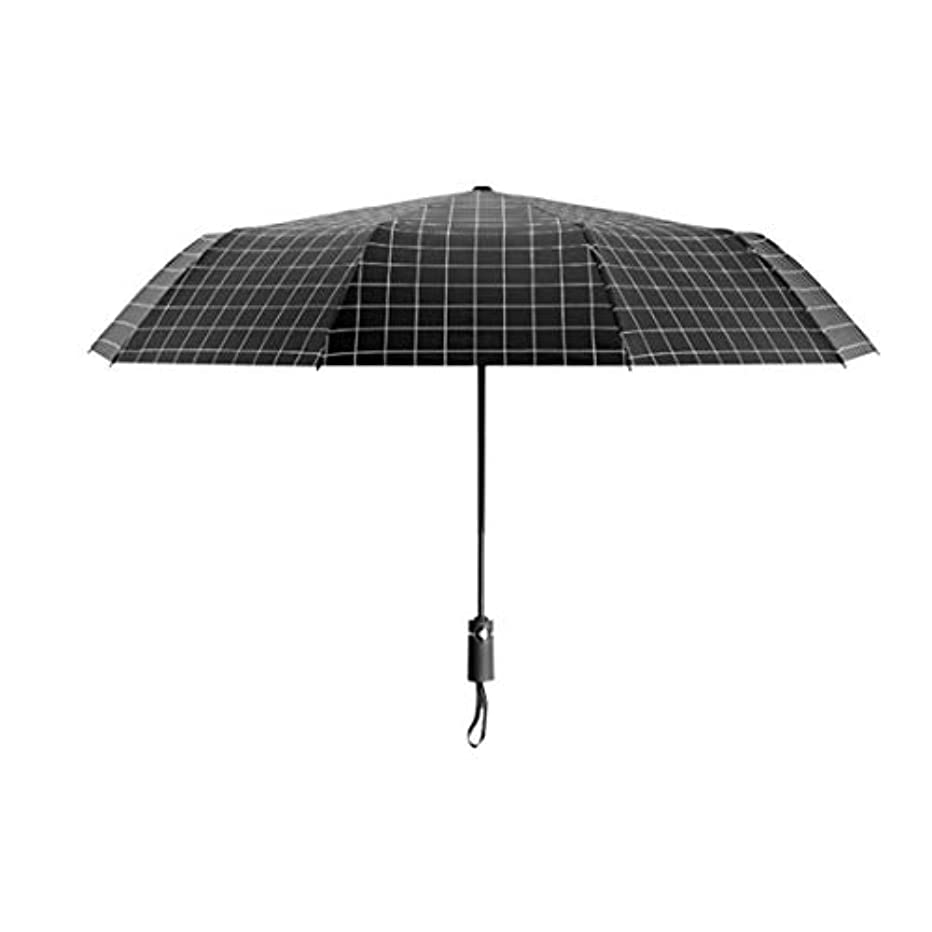 後キービールSummerys シンプルなファッション傘自動三つ折り黒と白の格子傘折りたたみ黒いプラスチック製の傘 (Color : Black)