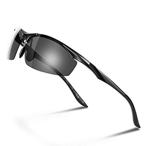 d8f911b0fcafef Glazata 偏光レンズ スポーツサングラス メンズ UV400 紫外線カット 超軽量 アルミニウム・マグネシウム合金 スポーツ