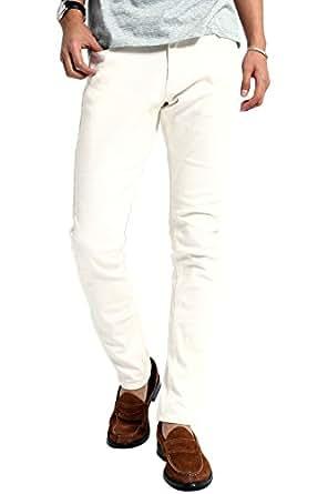 インプローブス チノパン ストレッチ スリム スキニー ストレッチパンツ スキニーパンツ カラーパンツ ズボン メンズ ホワイト XS サイズ
