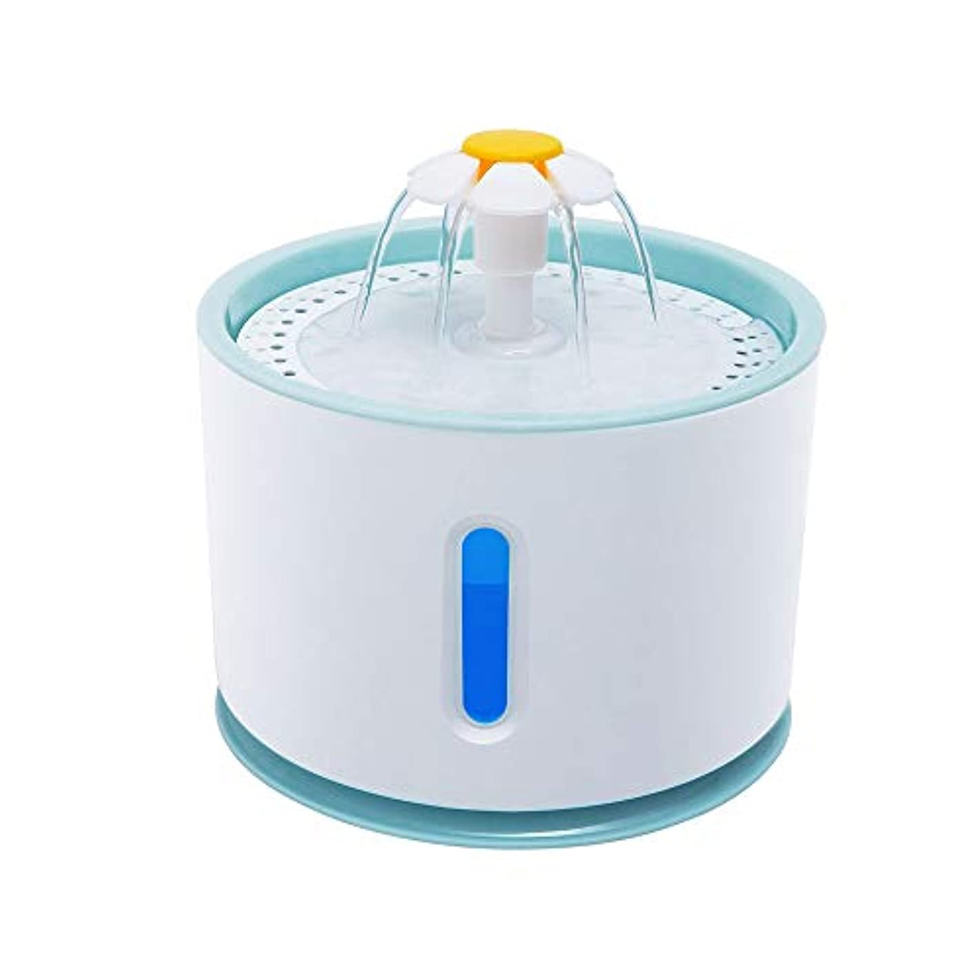 Rakuby 2.4Lペット 水噴水 花 プラスチック ふたLED 透明 水位 窓付き 自動電気 飲み物ディスペンサー ボール