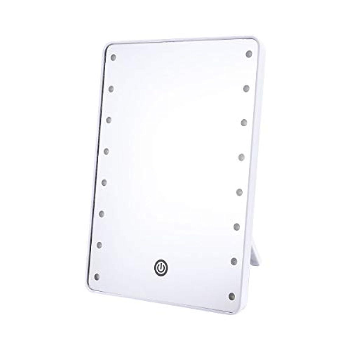 毎週海峡解明Frcolor 化粧鏡 卓上ミラー LEDライトミラー 16灯 スタンドミラー 角度調整可能 女優ミラー 電池給電 メイクアップミラー プレゼント(ホワイト)