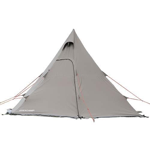 [クイックキャンプ] QUICKCAMP ワンポールテント ポリコットン グレー キャンプ アウトドア 3点セット イン...