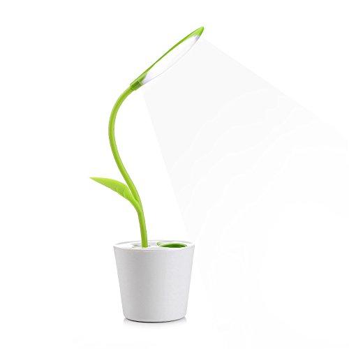 デスクライト 電気スタンド 卓上ライト LED デスクランプ テーブルランプ スタンドライト 卓上ライト 創造的なデザイン植物 目に優しい電気スタンド 省エネ学習机 テーブルスタンド 卓上ライト タッチセンサー調光 USBポート付け 三段階調光(薄緑)