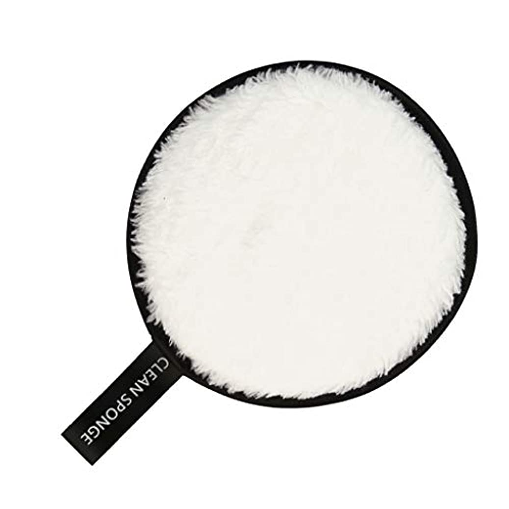 内部クラウン代わりにフェイススポンジ クリーニングパフ 再利用可能 化粧落としパッド 全6色 - 白