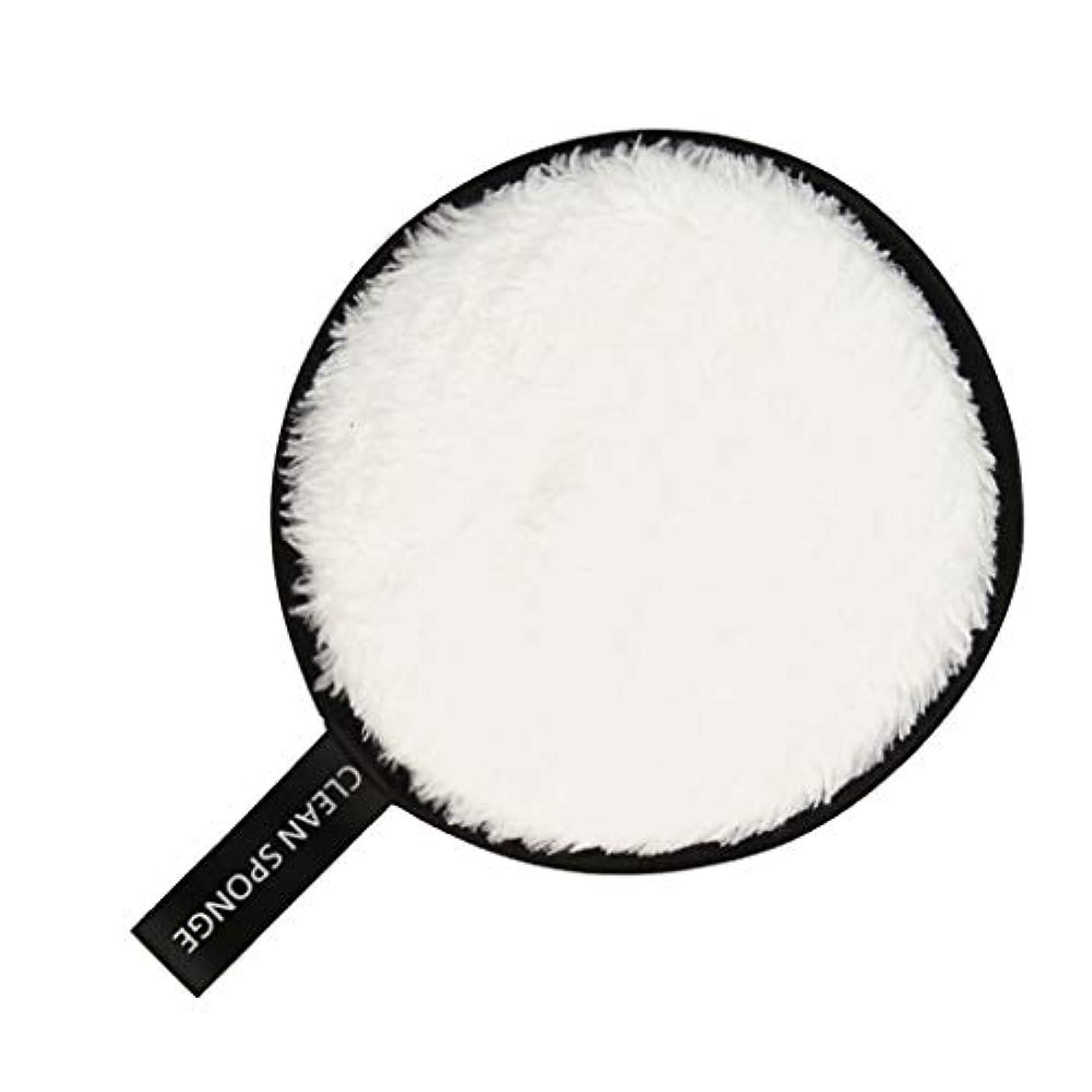 経度伝える私たちフェイススポンジ クリーニングパフ 再利用可能 化粧落としパッド 全6色 - 白