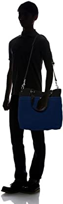 Medium Canvas Tote w/ Strap 8013: Black / Navy