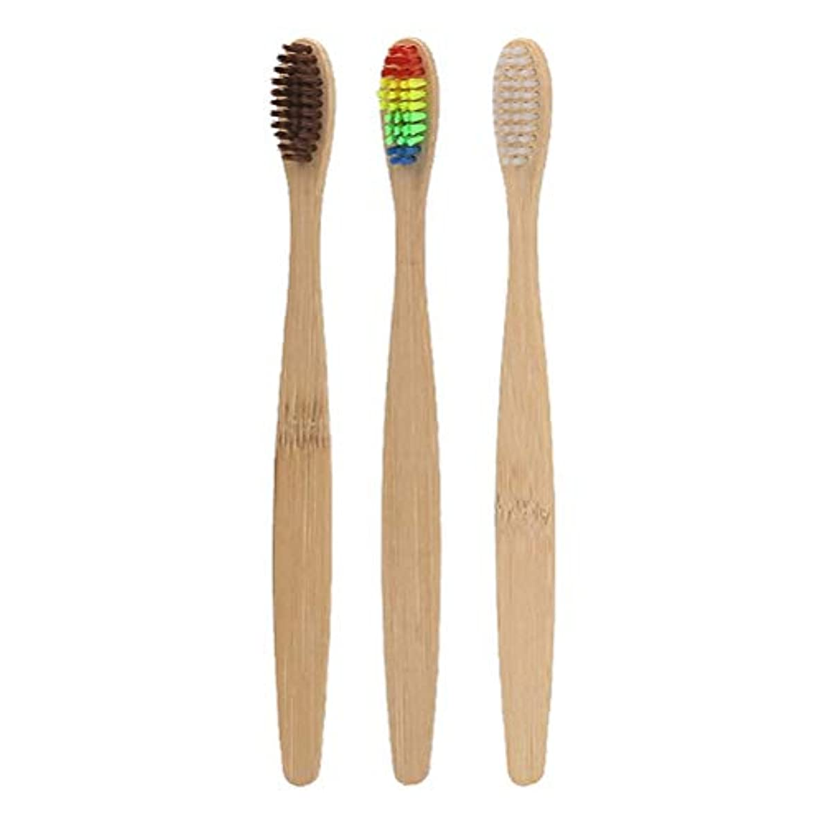 骨髄これら漂流SUPVOX 竹の歯ブラシ女性のためのナチュラルソフト歯ブラシ男性3本(白い剛毛+虹色の剛毛+茶色の剛毛)