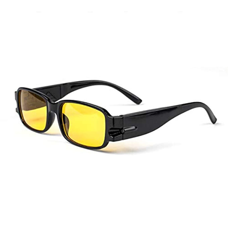 ドローやめるなに普遍的な男性女性老眼鏡磁気療法樹脂レンズ老視メガネ眼鏡LED照明付きメガネ-黄色100度