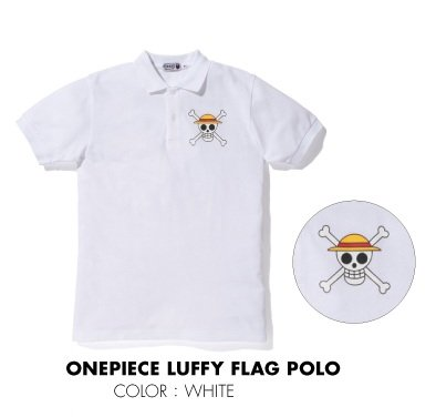 子供服 BAPE×onepiece (ワンピース) 限定 ポロシャツ ルフィー フラッグ 100cm ホワイト ア・ベイシング・エイプ